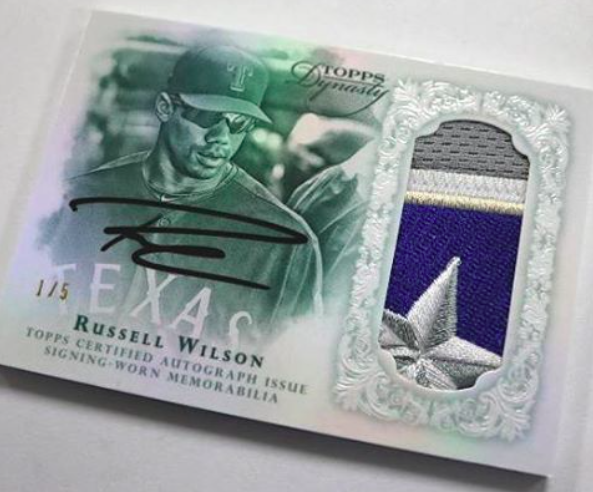 2015-Topps-dynasty-Russell-Wilson-Texas-Rangers