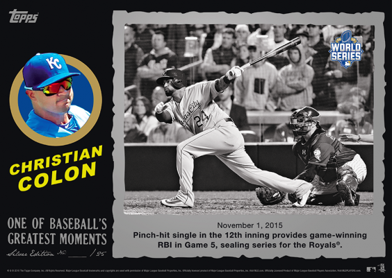 Topps commemorates Royals' 2015 World Series title in a day