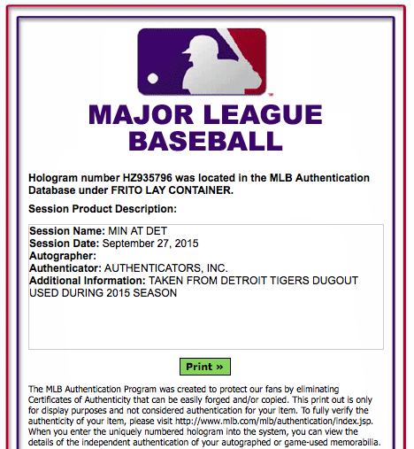 MLB-Authentication