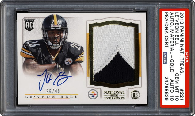 2013-panini-nat-treas-221-leveon-bell-auto-material-gold-psa-dna-dual-grade-28Dec2015