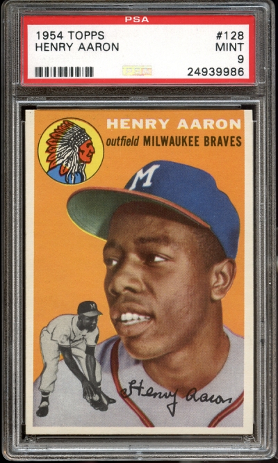 1954 Topps #128 Henry Aaron PSA 9 MINT # Bids: 25 Min Bid: $25,000 Final Price: $192,527