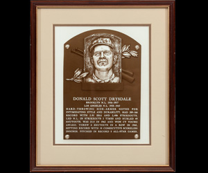 Don Drysdale's 1984 National Baseball Hall of Fame Induction Presentation Plaque