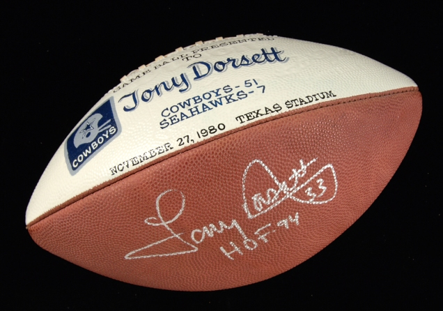 Nov. 27, 1980 Tony Dorsett Dallas Cowboys presentational game ball. Current bid: $630.