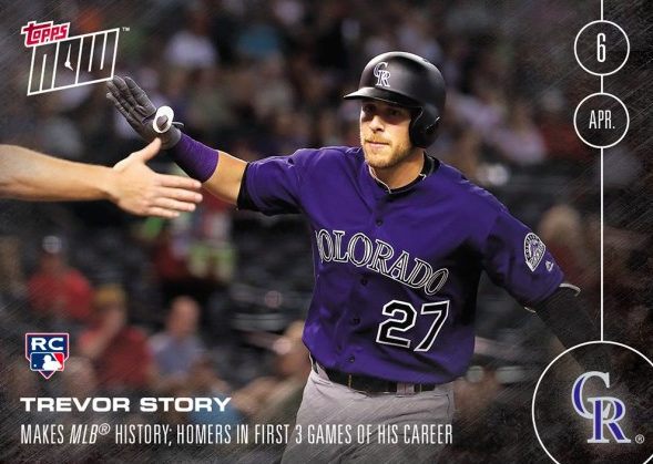 TREVOR STORY - 2016 TOPPS NOW CARD 6 (RC) (4/6/16) - PRINT RUN: 759 CARDS