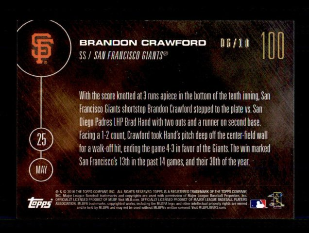 BRANDON CRAWFORD - 2016 TOPPS NOW CARD 100 - PRINT RUN QTY: 10 autographs