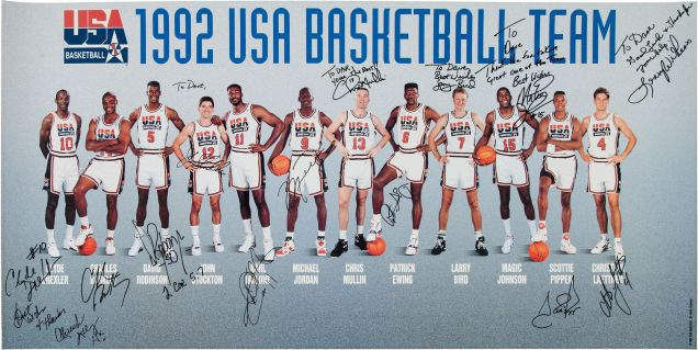 9a2e1f426f97 A priceless stash of autographed items and game-used shoes from the 1992  USA Basketball Dream Team is hitting the auction block via Heritage  Auctions