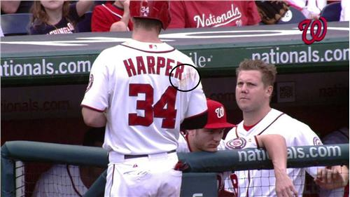 5a8d97fdb Fight game-used Bryce Harper jersey up for auction via Lelands ...
