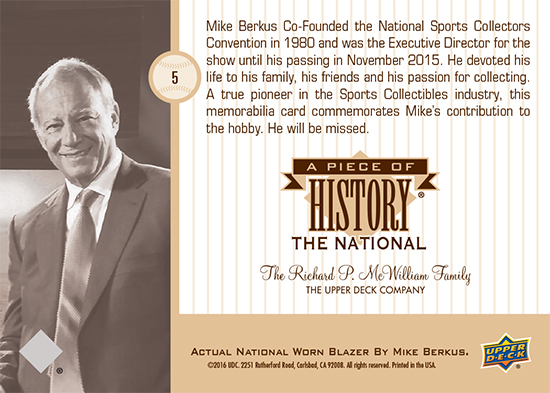 Upper Deck Honors Mike Berkus With Piece Of History Card For