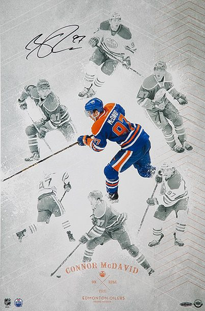 connor-mcdavid-autographed-on-the-rise-print-upper-deck-authenticated